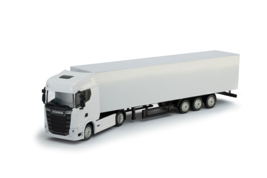Scale Model Scania S 4x2 with trailer white color