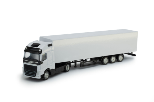 Scale model Volvo FH 4x2 with trailer white color
